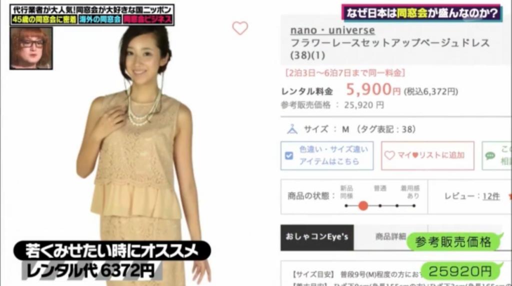テレビ朝日シュシュ おしゃれコンシャス レンタルドレス紹介