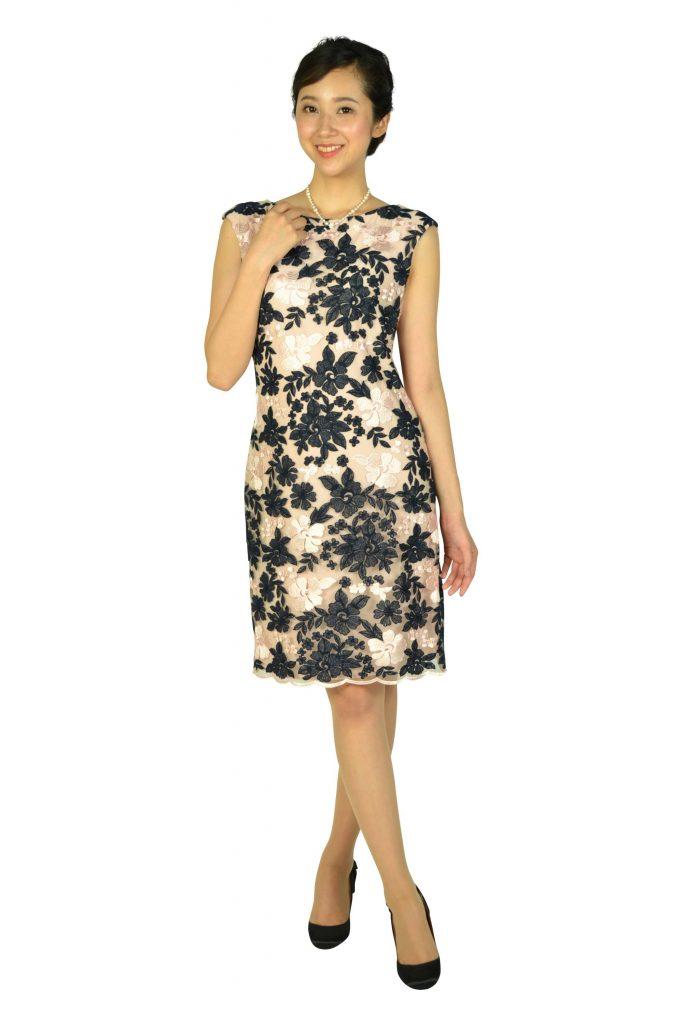 Ralph Lauren フラワー刺繍ネイビー×ピンクドレス